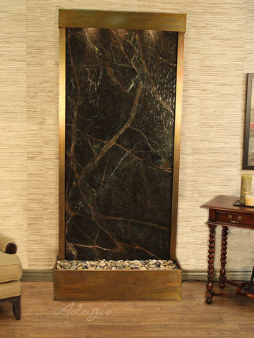 Floor Fountain - Tranquil River (Flush Mounted Towards Rear Of The Base) - Rainforest Green Marble - Rustic Copper - trf1005