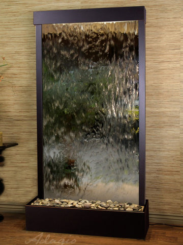 Floor Fountain - Tranquil River (Flush Mounted Towards Rear Of The Base) - Silver Mirror - Blackened Copper - trf15402