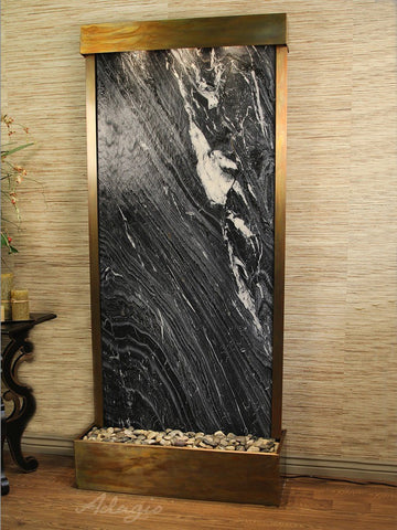 Floor Fountain Tranquil River (Flush Mounted Towards Rear Of The Base) - Black Spider Marble - Rustic Copper - trf1007