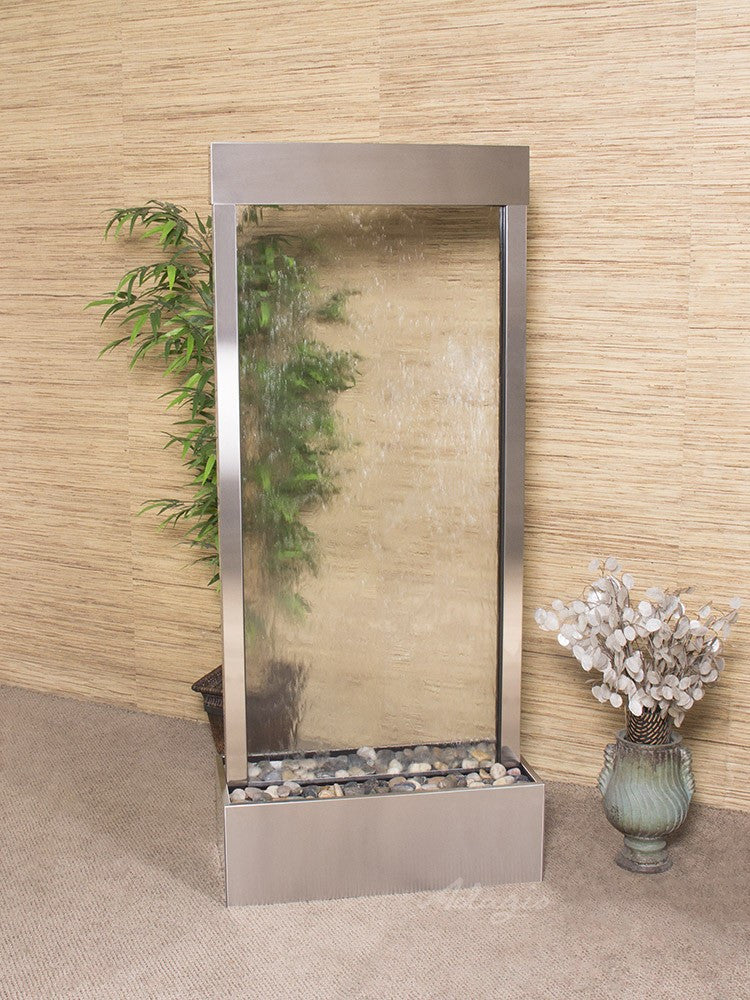 Floor Fountain - Harmony River (Centered In Base) - Clear Glass - Stainless Steel - hrc2050