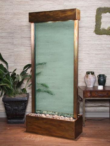 Floor Fountain - Harmony River (Centered In Base) - Green Glass - Rustic Copper - hrc1052a