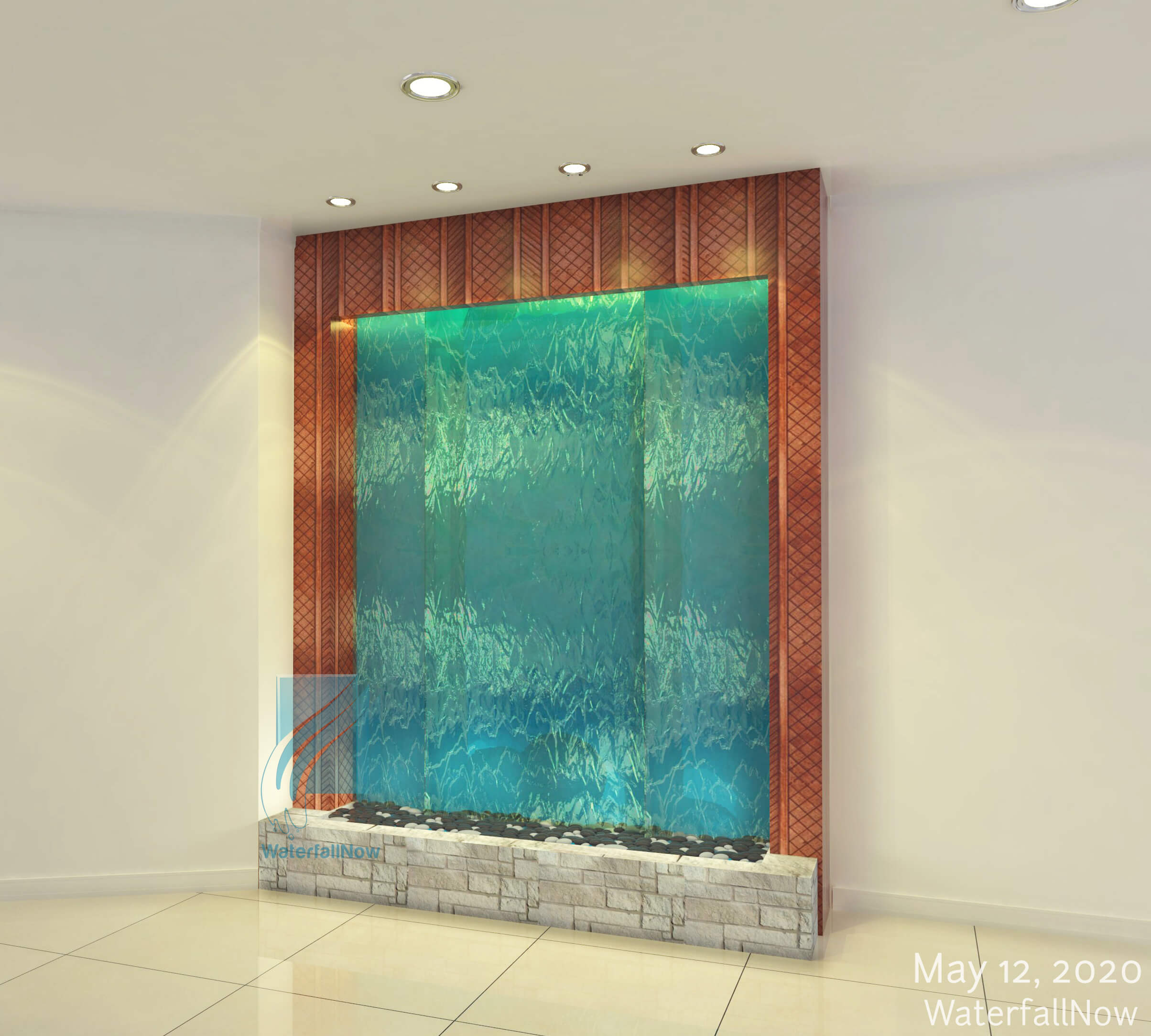 blue glass waterwall