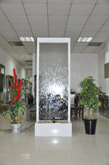 7.5 Foot Indoor Floor Fountain Powder Coated White Trim Bamboo Pattern Glass - PCWPG90FF