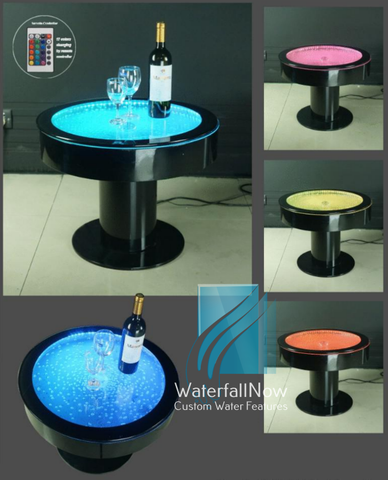RGB LED Bubble Panel Round Table - Black Acrylic - bwpta2150b