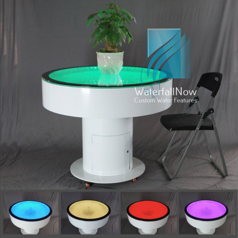 RGB LED Bubble Table - White Powder Coated Metal - bwpta2150w