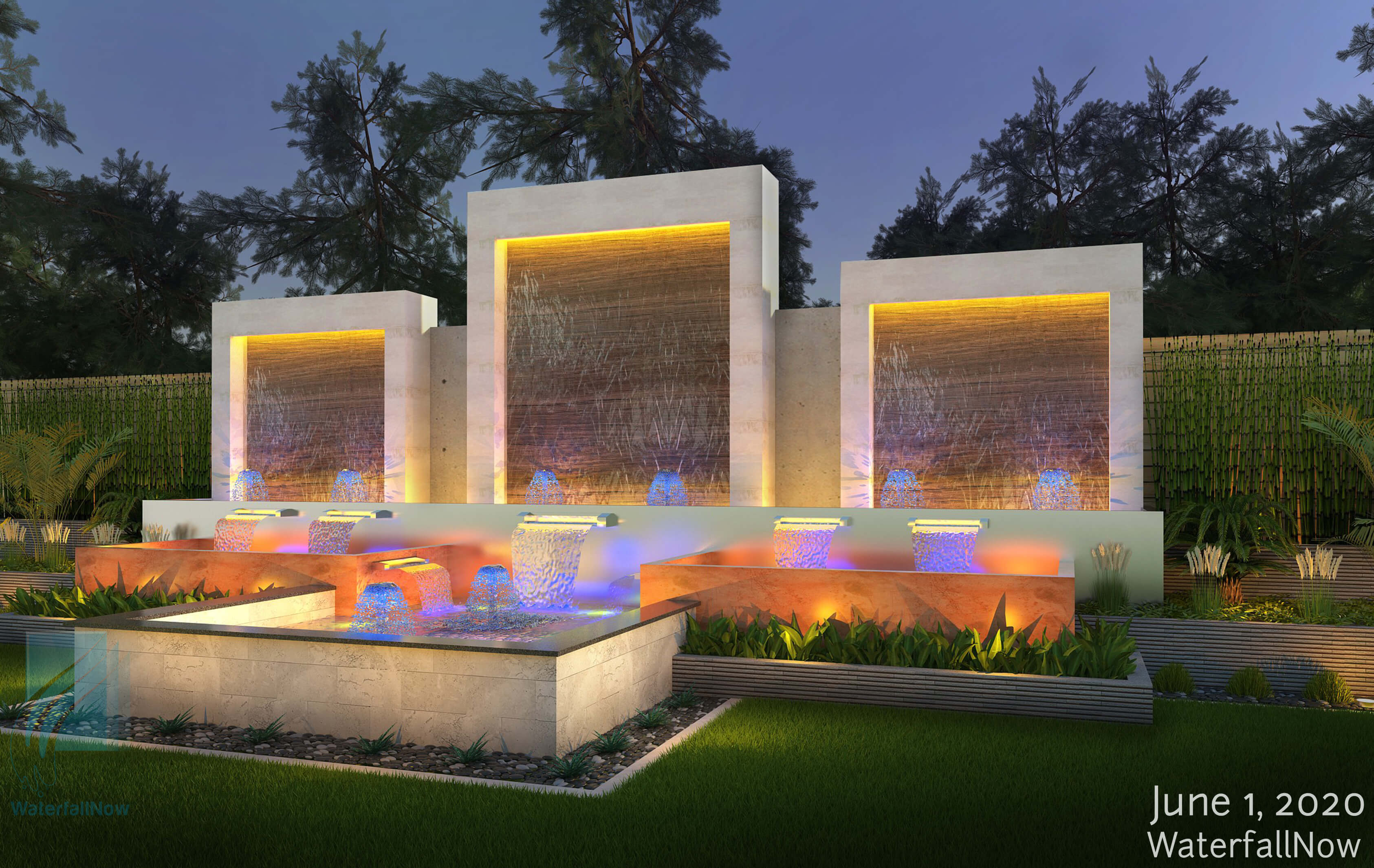 custom landscape water feature