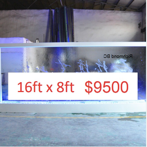 16 x 8 Partition Glass Floor Fountain (Custom Made)