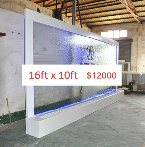 16 x 10 Partition Glass Floor Fountain (Custom Made)