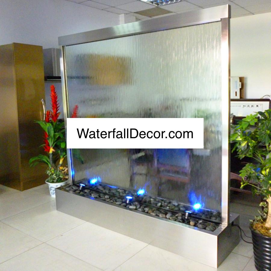 7 Foot Wide 7 Foot High Double Sided Indoor Floor Fountain Clear Glass Metal Trim