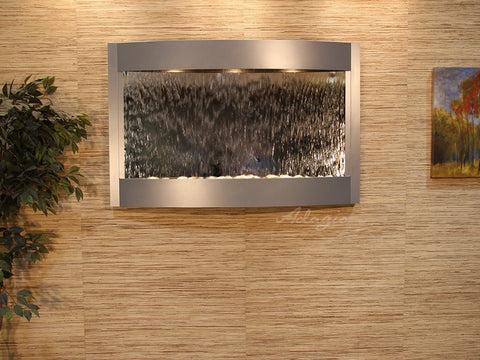 Wall Fountain - Calming Waters - Silver Mirror - Silver Metallic - cwa4540