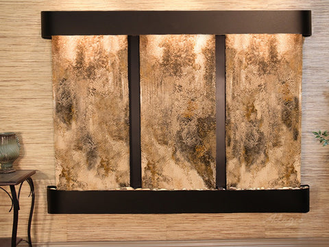 Wall Fountain -Deep Creek - Magnifico Travertine - Blackened Copper - Rounded - dcr1508_1