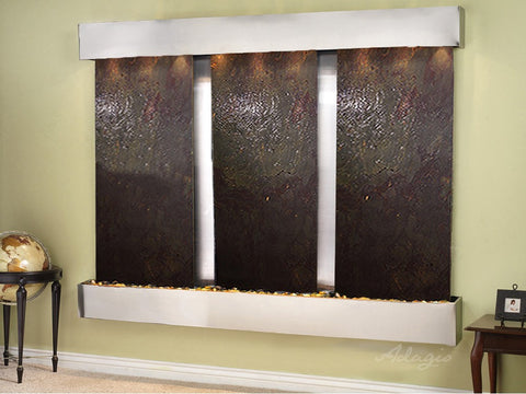 Wall Fountain -Deep Creek - Multi-Color FeatherStone - Stainless Steel - Squared - dcs2014_1