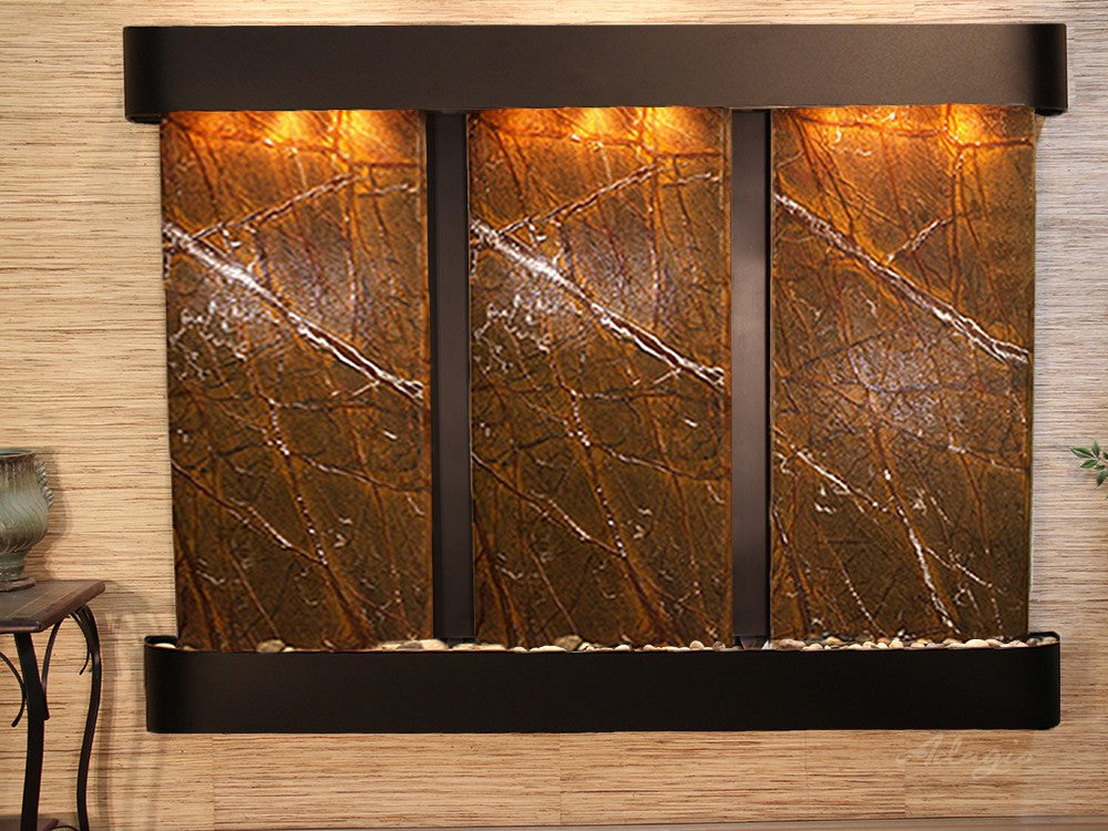 Wall Fountain -Deep Creek - Rainforest Brown Marble - Blackened Copper - Rounded - dcr1506_1