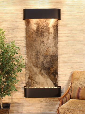 Wall Fountain - Inspiration Falls - Magnifico Travertine - Blackened Copper - Rounded - ifr1508_1