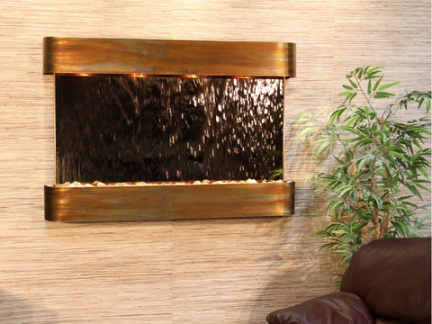 Wall Fountain - Sunrise Springs - Bronze Mirror - Rustic Copper - Rounded - ssr1041