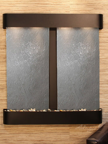 Wall Fountain - Aspen Falls - Black FeatherStone - Blackened Copper - Rounded - afr1511