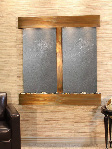 Wall Fountain - Aspen Falls - Black FeatherStone - Rustic Copper - Rounded - afs1011