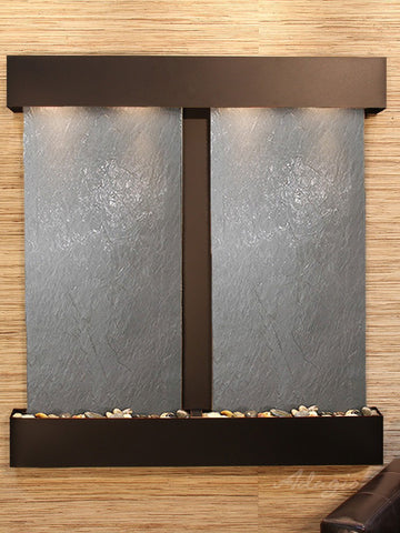 Wall Fountain - Aspen Falls - Black FeatherStone - Rustic Copper - Squared - afs1511