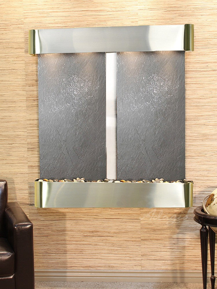 Wall Fountain - Aspen Falls - Black FeatherStone - Stainless Steel - Rounded - afr2011