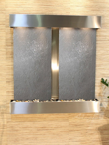 Wall Fountain - Aspen Falls - Black FeatherStone - Stainless Steel - Squared - afs2011