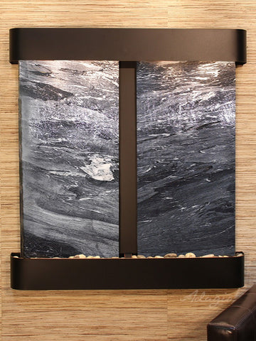 Wall Fountain - Aspen Falls - Black Spider Marble - Blackened Copper - Rounded - afr1507