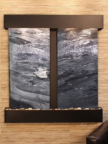 Wall Fountain - Aspen Falls - Black Spider Marble - Blackened Copper - Squared - afs1507