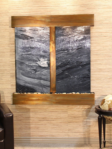 Wall Fountain - Aspen Falls - Black Spider Marble - Rustic Copper - Squared - afs1007