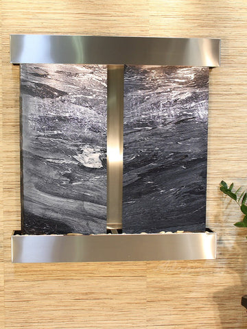 Wall Fountain - Aspen Falls - Black Spider Marble - Stainless Steel - Squared - afs2007