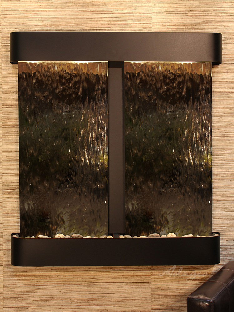 Wall Fountain - Aspen Falls - Bronze Mirror - Blackened Copper - Rounded - afr1541