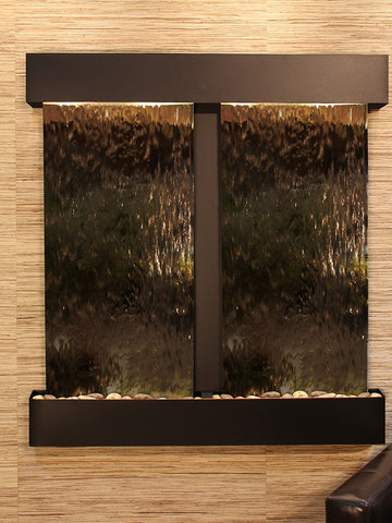 Wall Fountain - Aspen Falls - Bronze Mirror - Blackened Copper - Squared - afs1541