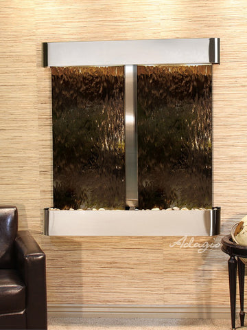 Wall Fountain - Aspen Falls - Bronze Mirror - Stainless Steel - Rounded - afr2041