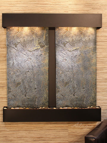 Wall Fountain - Aspen Falls - Green FeatherStone - Blackened Copper - Squared - afs1512