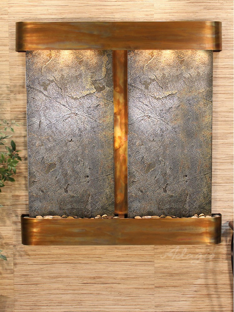 Wall Fountain - Aspen Falls - Green FeatherStone - Rustic Copper - Rounded - afr1012