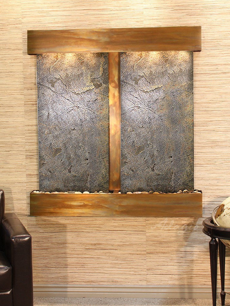 Wall Fountain - Aspen Falls - Green FeatherStone - Rustic Copper - Squared - afs1012