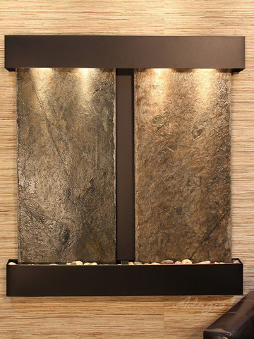 Wall Fountain - Aspen Falls - Green Slate - Blackened Copper - Squared - afs1502
