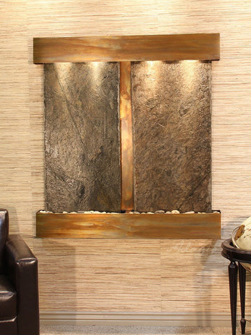 Wall Fountain - Aspen Falls - Green Slate - Rustic Copper - Squared - afs1002