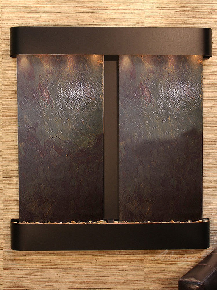 Wall Fountain - Aspen Falls - Multi-Color FeatherStone - Blackened Copper - Rounded - afr1514