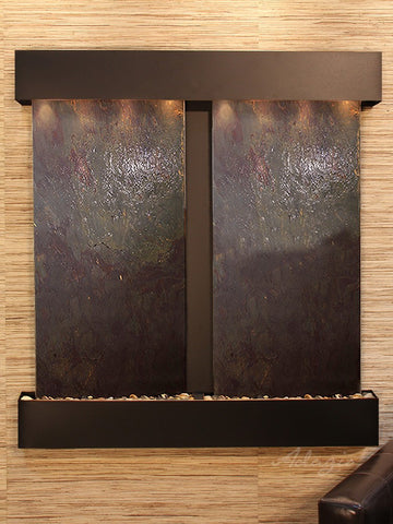 Wall Fountain - Aspen Falls - Multi-Color FeatherStone - Blackened Copper - Squared - afs1514