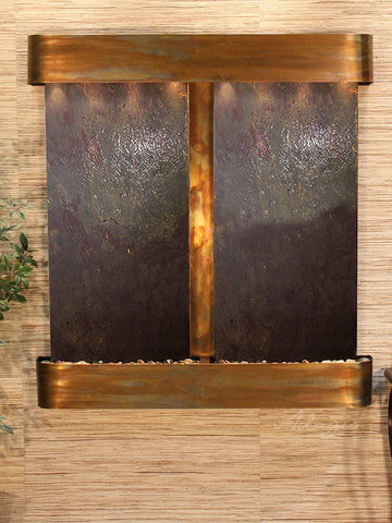 Wall Fountain - Aspen Falls - Multi-Color FeatherStone - Rustic Copper - Rounded - afr1014