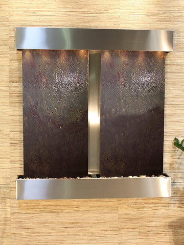 Wall Fountain - Aspen Falls - Multi-Color FeatherStone - Stainless Steel - Squared - afs2014