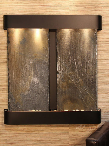 Wall Fountain - Aspen Falls - Multi-Color Slate - Blackened Copper - Rounded - afr1504
