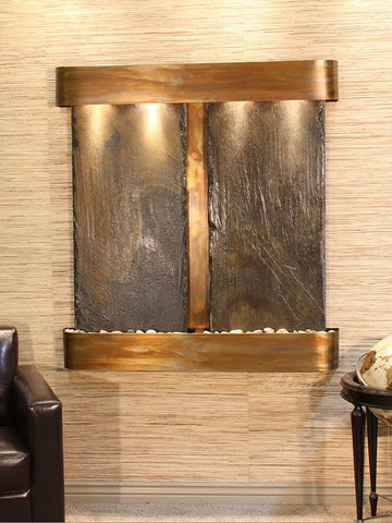 Wall Fountain - Aspen Falls - Multi-Color Slate - Rustic Copper - Squared - afr1004