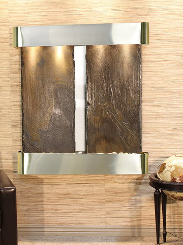 Wall Fountain - Aspen Falls - Multi-Color Slate - Stainless Steel - Rounded - afr2004