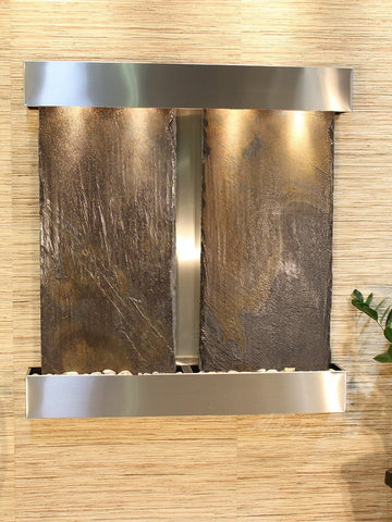 Wall Fountain - Aspen Falls - Multi-Color Slate - Stainless Steel - Squared - afs2004