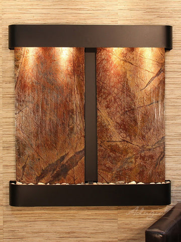 Wall Fountain - Aspen Falls - Rainforest Brown Marble - Blackened Copper - Rounded - afr1506