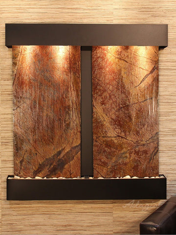 Wall Fountain - Aspen Falls - Rainforest Brown Marble - Blackened Copper - Squared - afs1506
