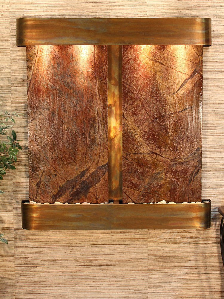 Wall Fountain - Aspen Falls - Rainforest Brown Marble - Rustic Copper - Squared - afr1006