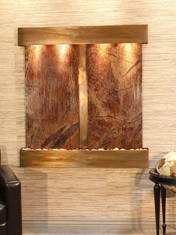 Wall Fountain - Aspen Falls - Rainforest Brown Marble - Rustic Copper - Squared - afs1006