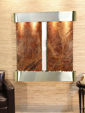 Wall Fountain - Aspen Falls - Rainforest Brown Marble - Stainless Steel - Rounded - afr2006