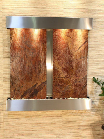 Wall Fountain - Aspen Falls - Rainforest Brown Marble - Stainless Steel - Squared - afs2006